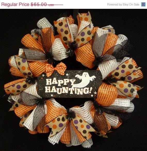 Happy Haunting Ghost Wreath, Deco Mesh Wreaths, Halloween Decor