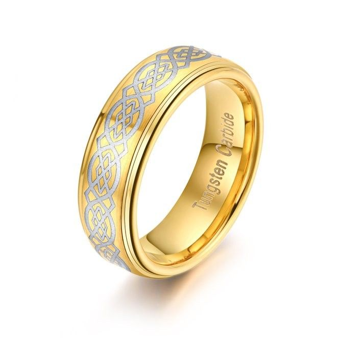 8mm Gold Plated Mens Tungsten Carbide Ring Laser Celtic Knot Polished Edge - Tungsten Rings