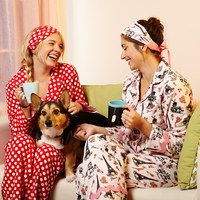 You're never too old for a slumber party! We're taking a childhood rite of passage and giving it a comfy-chic spin with a collection of classic pajamas, stylish sleep separates and fun beauty extras for that pampering final touch. All that's left for you to do is ring up the bestie, pick a popcorn flick and settle in for some well-deserved You time.