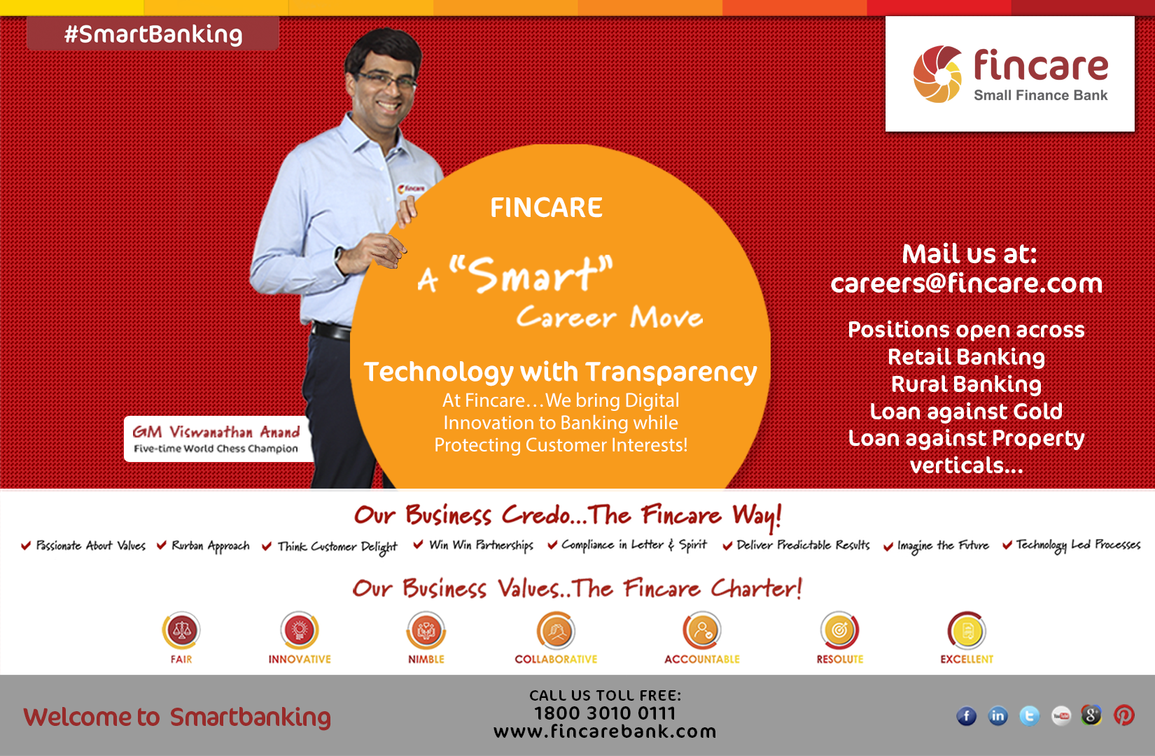 Fincare, a smart career move! At Fincare…We bring Digital