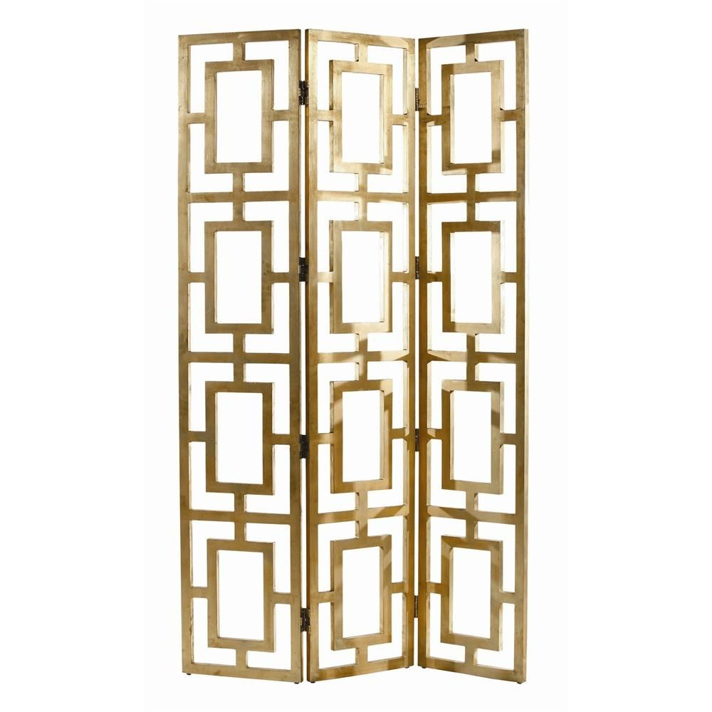 Gilded Gold Room Screen is part of Silver Home Accessories Art Deco - The chic Gilded Gold Room Screen is a three panel screen crafted out of wood and finished in a very pretty gilded gold finish  Dimensions Width 16  Height 80  Depth 1