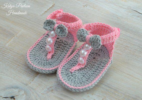 31951ac4c6454 Crochet baby girl sandals Slides shoes Knit newborn Bow flip flops ...