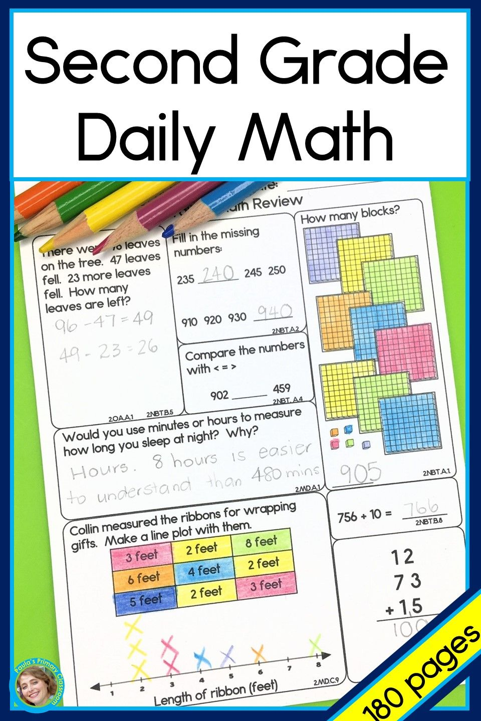 Second Grade Daily Math spiraling year long curriculum covering Common Core  State Standards   Daily math [ 1440 x 960 Pixel ]