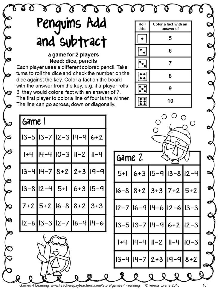 Penguin Math Games No Prep Addition And Subtraction Games Winter Activity With Images Math Games