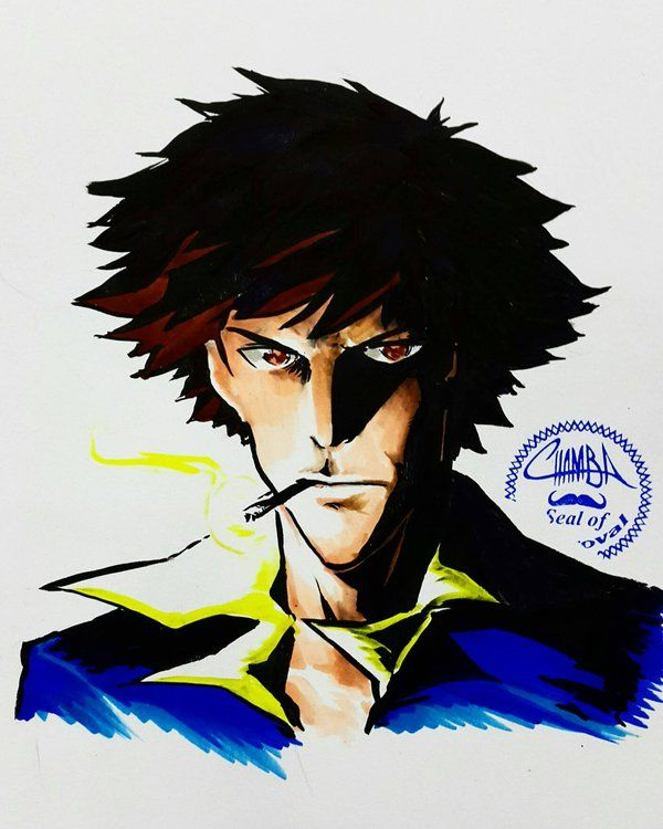 Spike Spiegel drawn during the MEFCC convention in Dubai, a few weeks back. #PentelPocketBrush #CopicMarkers