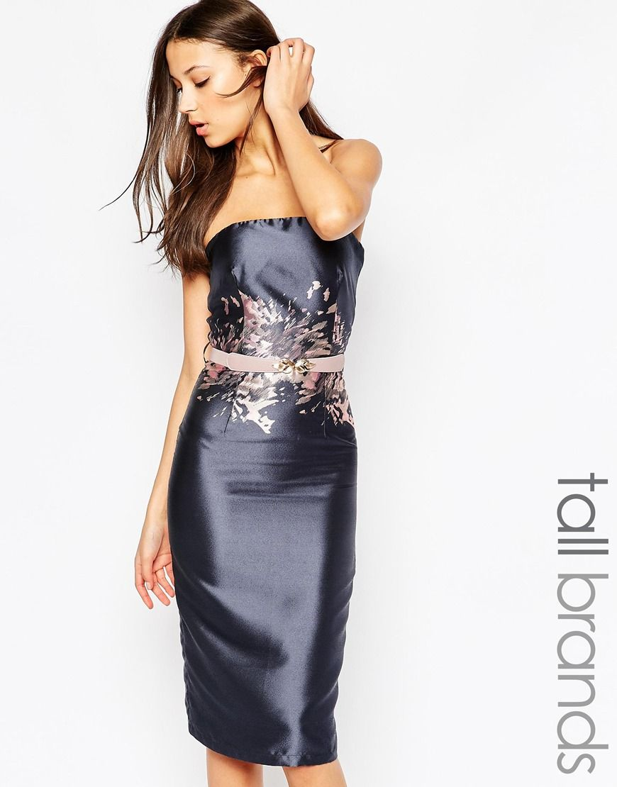 Image 1 of Little Mistress Tall Midi Pencil Dress With Printed Waist Detail 17e9467c0f