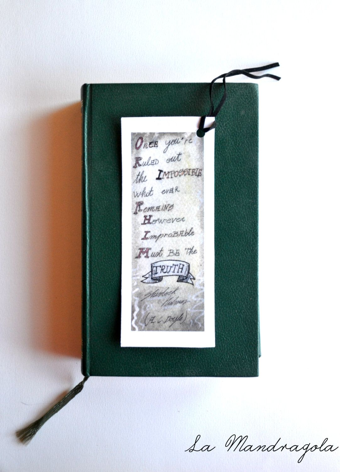 Sherlock Holmes illustrated quote bookmark. Watercolor illustration with quote by Arthur Conan Doyle