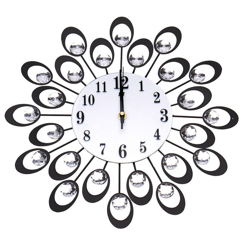 Home Decor Diy Crystal Peacock Large Wall Clock Metal Silent Wall Watch Unique Gift 2017ing Wall Clock Wall Clocks Living Room Antique Wall Clock