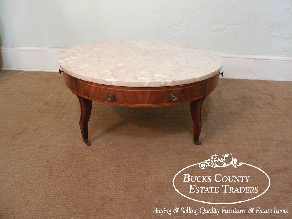 Weiman Regency Neo Classical Mahogany Inlaid Round Marble Top Coffee Table  #NeoClassical