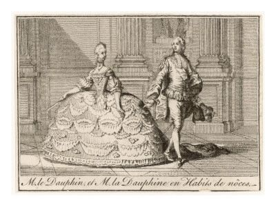 Wedding clothing of the future Louis XVI and Marie Antoinette, 1770, French school