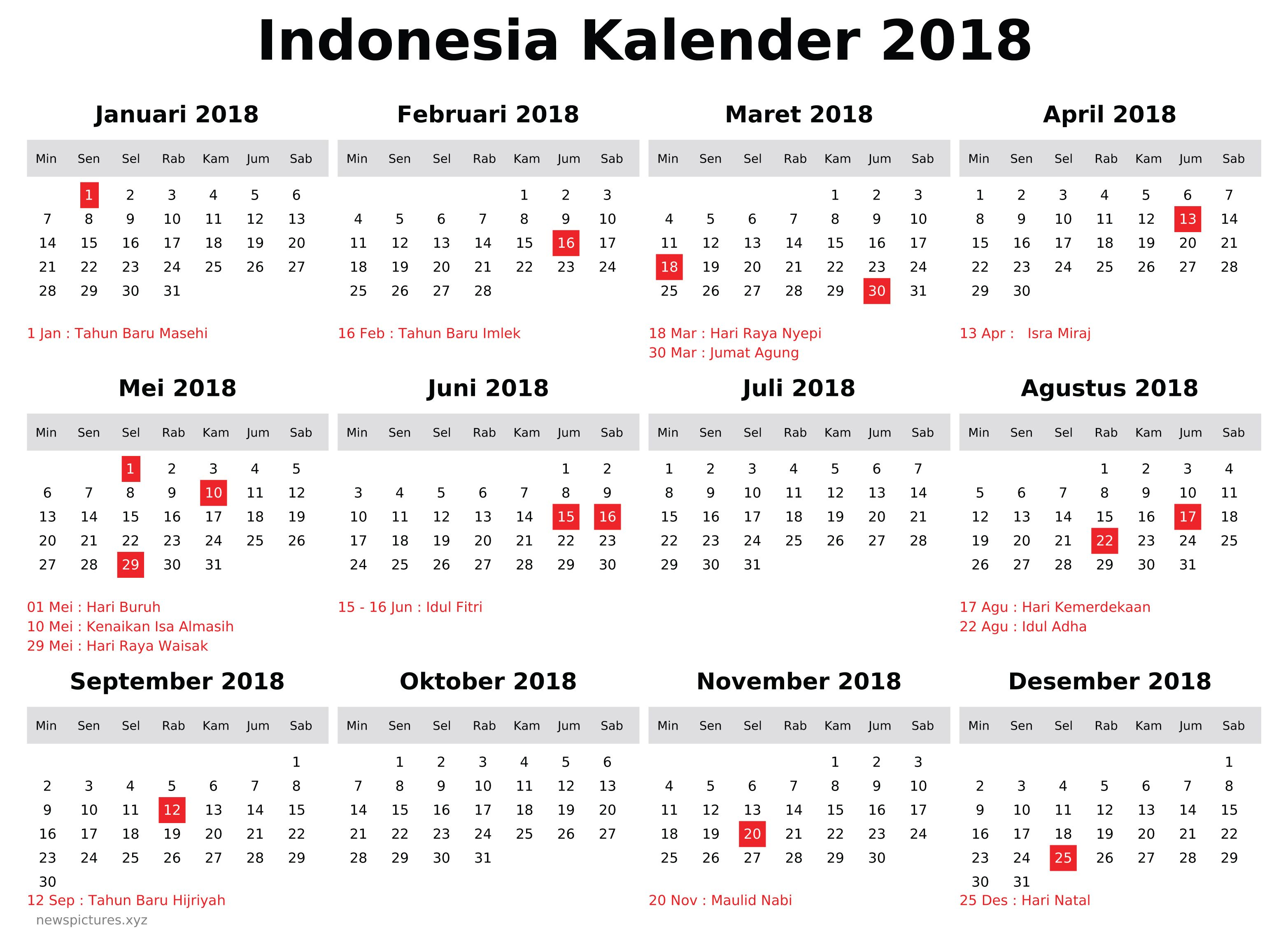 kalender indonesia 2018 newspictures