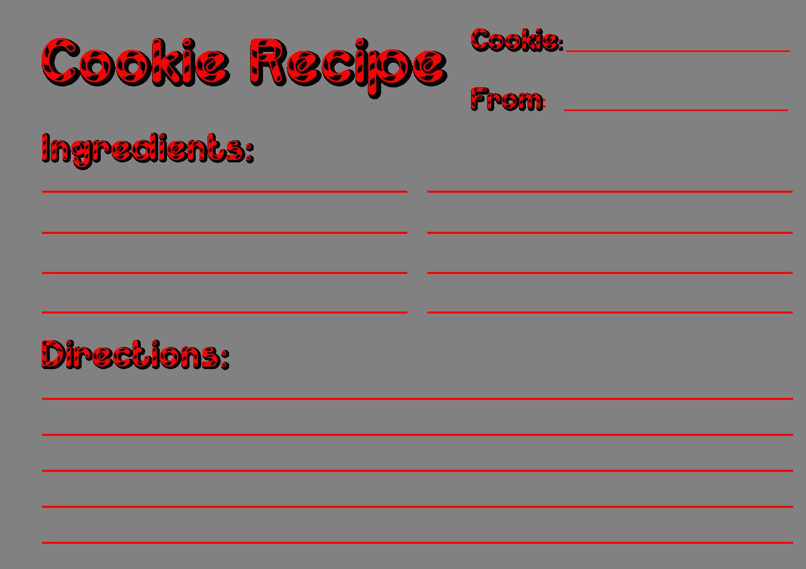 cookie exchange recipe cards free printable  recipe