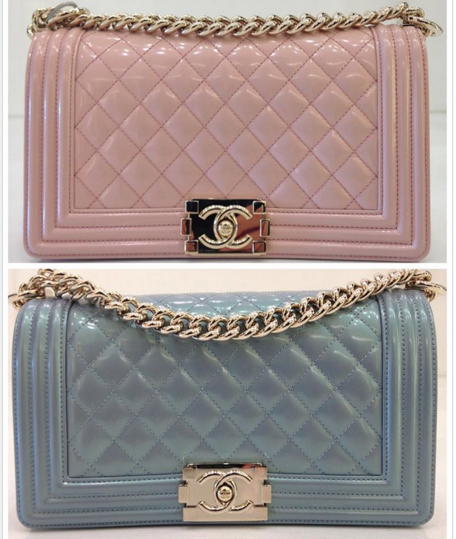 3455c972ca6d Chanel Light Pink and Light Blue Iridescent Calfskin Boy Bags ...