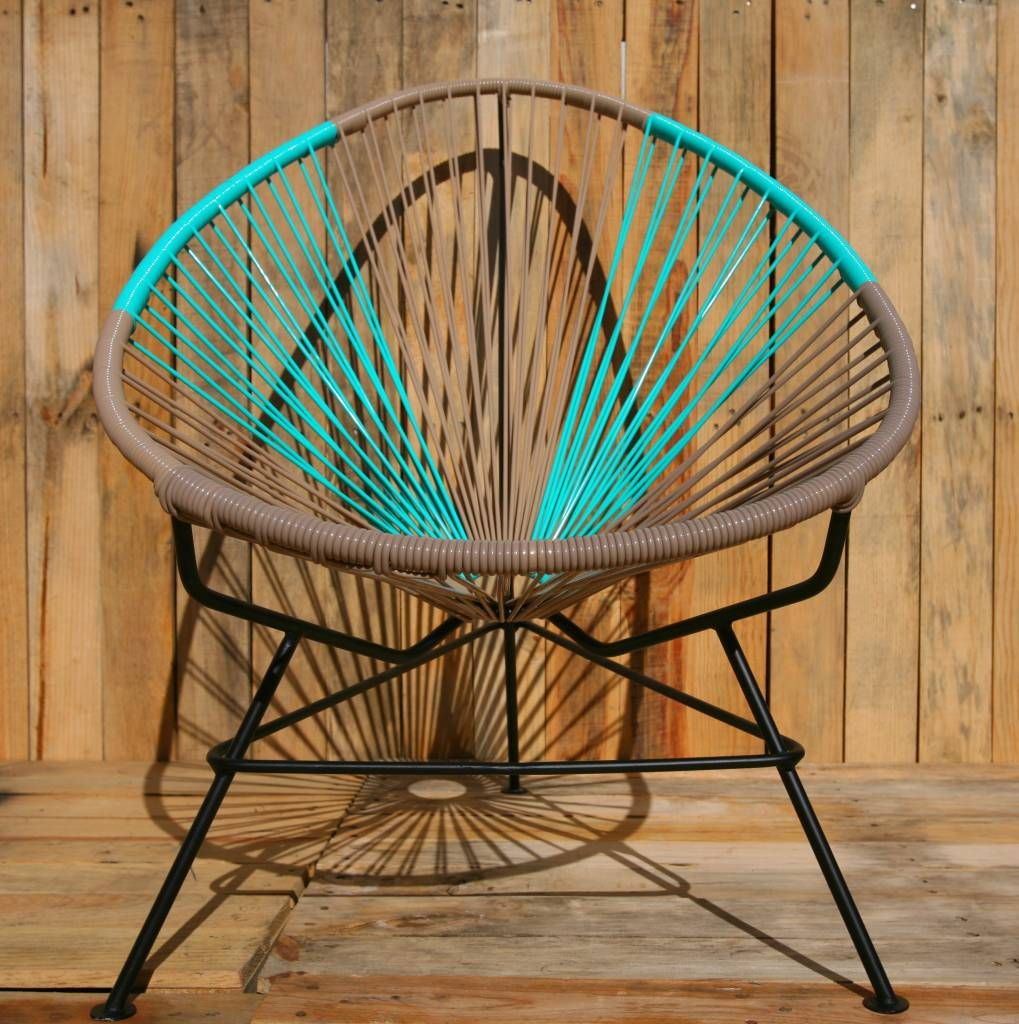 From my living room greenpoint works acapulco chair in leather meets - Acapulco Chair Beige Turquoise Handmade Black Frame The Original Acapulco Chair Www