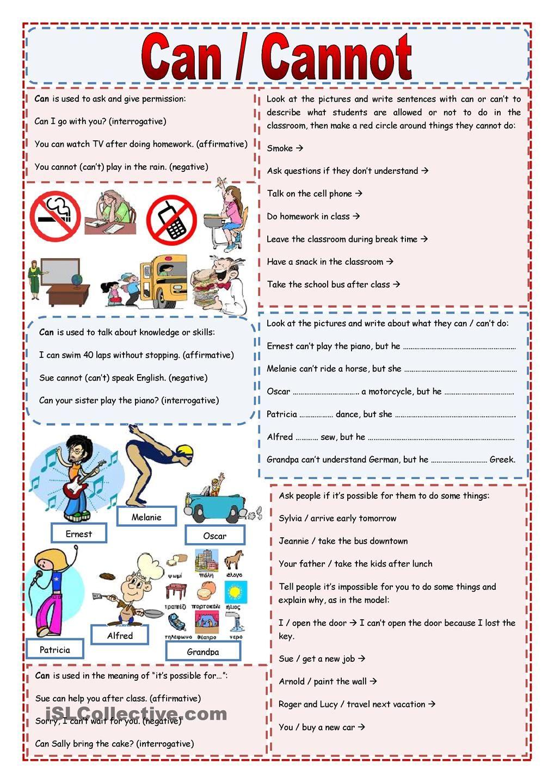 Can, Can not | Teaching KIDS | ESL | Pinterest