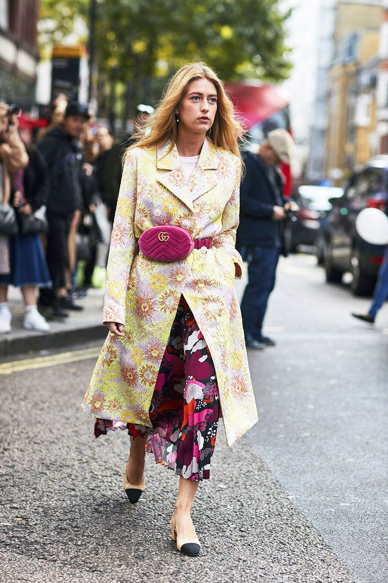 ebc12e4425e6 london fashion week street style spring 2018 emili sindlev magenta gucci  belt bag floral print dress coat chanel heels