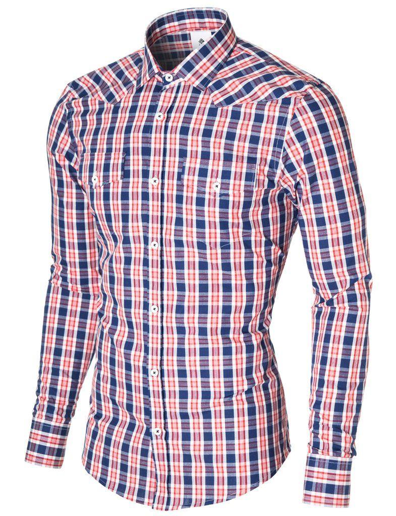 Generic Mens Casual Slim Corduroy Long-Sleeve Button Down Dress Shirt
