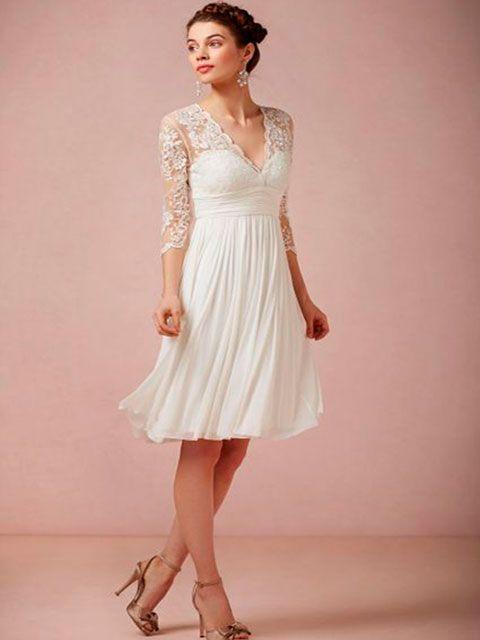 vestido de novia corto strapless corazón escote ilusión en v mangas