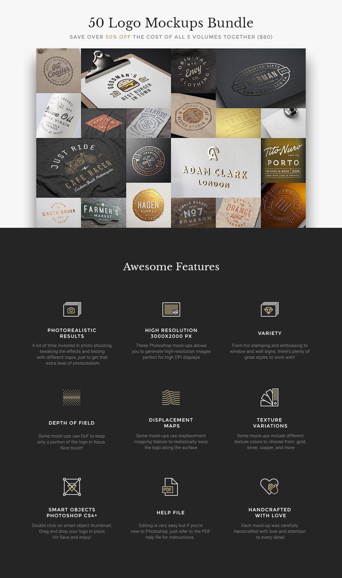 50 Logo Mock-Ups Bundle - Product Mockups - 1 | [us] | Pinterest ...