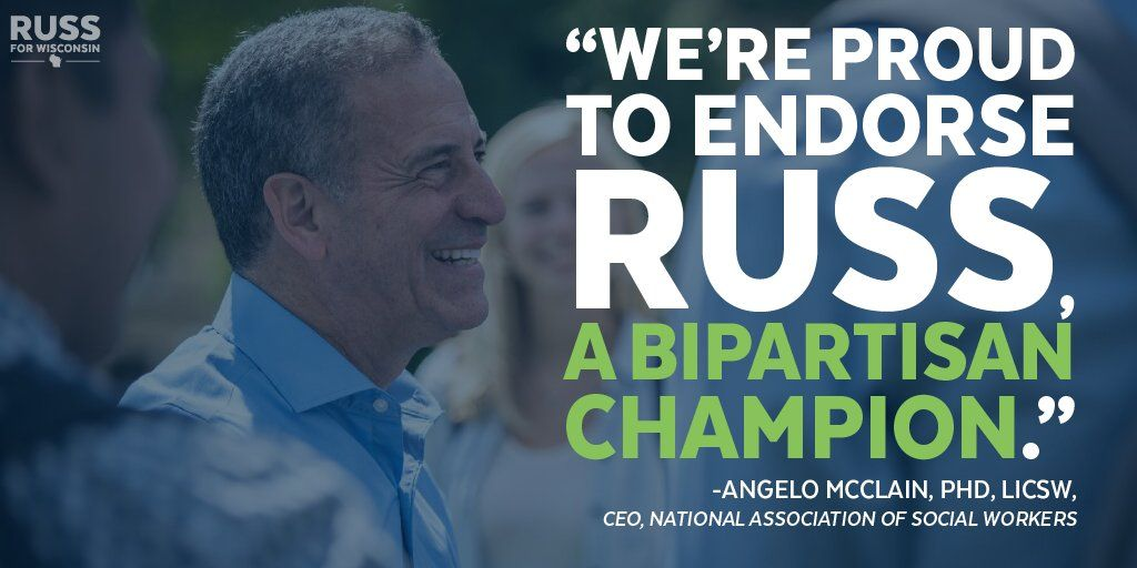 """Russ Feingold on Twitter: """"""""Russ will create jobs & improve access to social worker services for Wisconsinites.""""  We're honored to have @nasw's endorsement. #Russ4WI https://t.co/4Cb6FnoJt5"""""""
