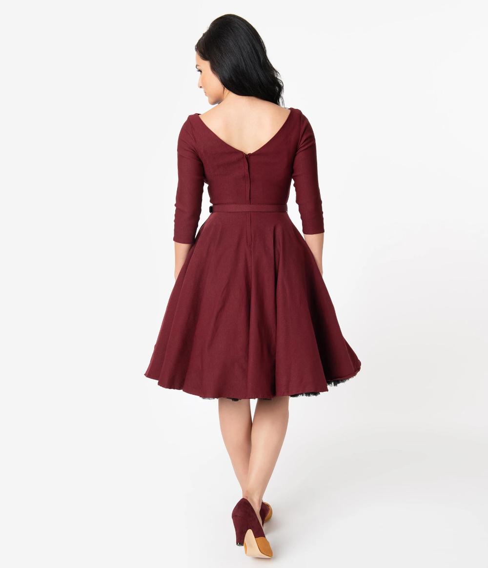 Unique Vintage 1950s Style Wine Red Stretch Sleeved Devon Swing Dress Cocktail Dress Vintage Homecoming Dresses Short 1950s Fashion [ 1164 x 1000 Pixel ]