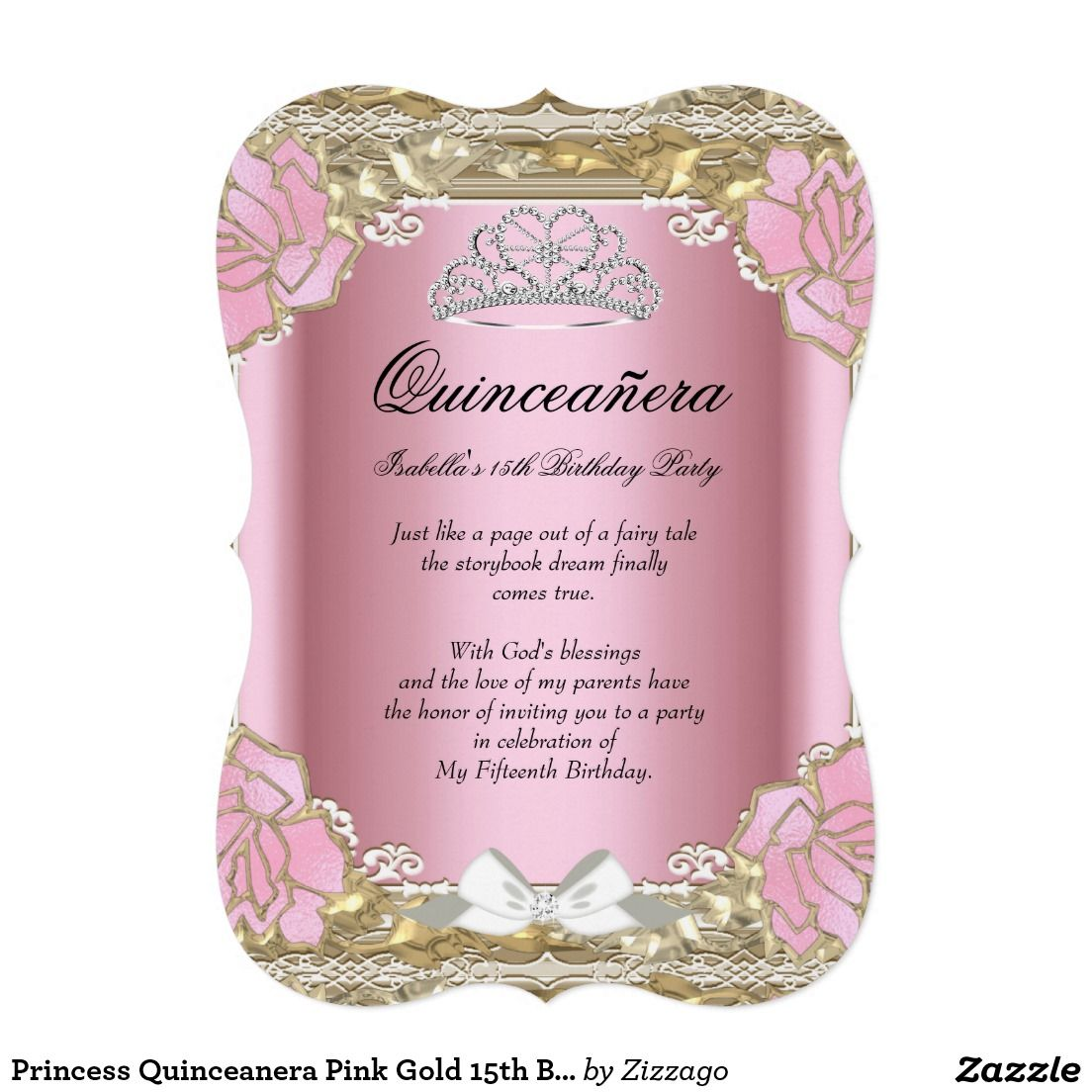 Princess Quinceanera Pink Gold 15th Birthday Tiara Card | Birthday ...