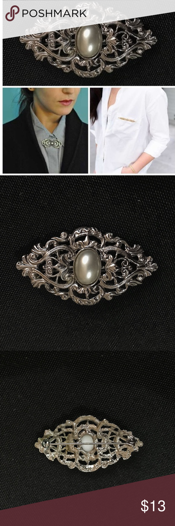 VTG 80s Silver Pearlescent Bar Brooch Vintage 1980s Silver philagree Victorian revival design with pearlescent jewel in the middle Silver back Good condition, with small discoloration on the back  Height (approx.): 1.25