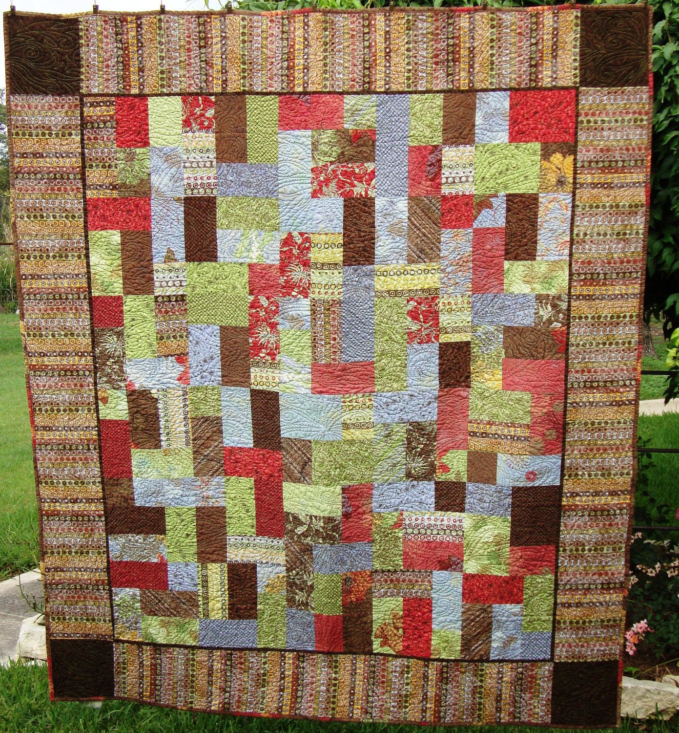 Beautiful Lap Quilt With Reds Greens Blues And Browns 100 00 Via Etsy Lap Quilt Quilts Long Arm Quilting Machine