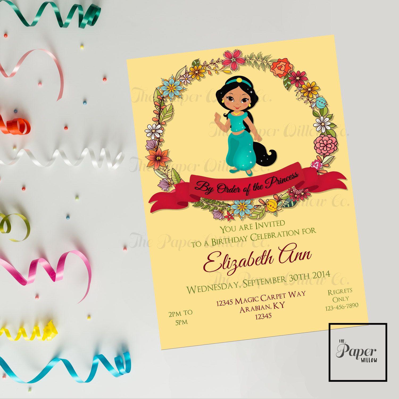 Jasmine Birthday Invitation Instant Download Editable Pdf File Printable Aladdin Genie Abu Jasmine Birthday Invitation Jasmine Birthday Printable Invitations