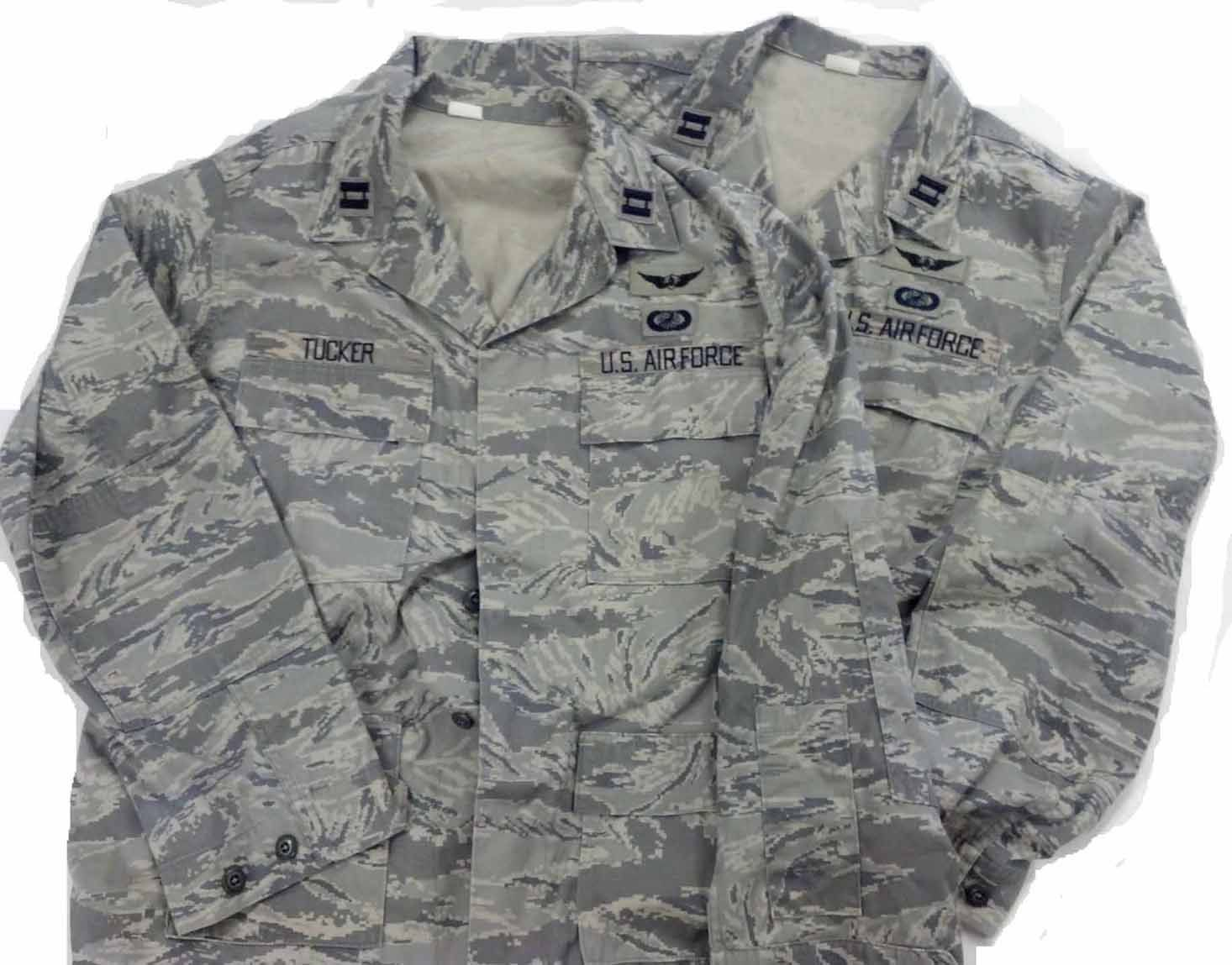 63befacab71 2 USAF Captain s Airman Battle Uniforms with ARMY aviator wings ...