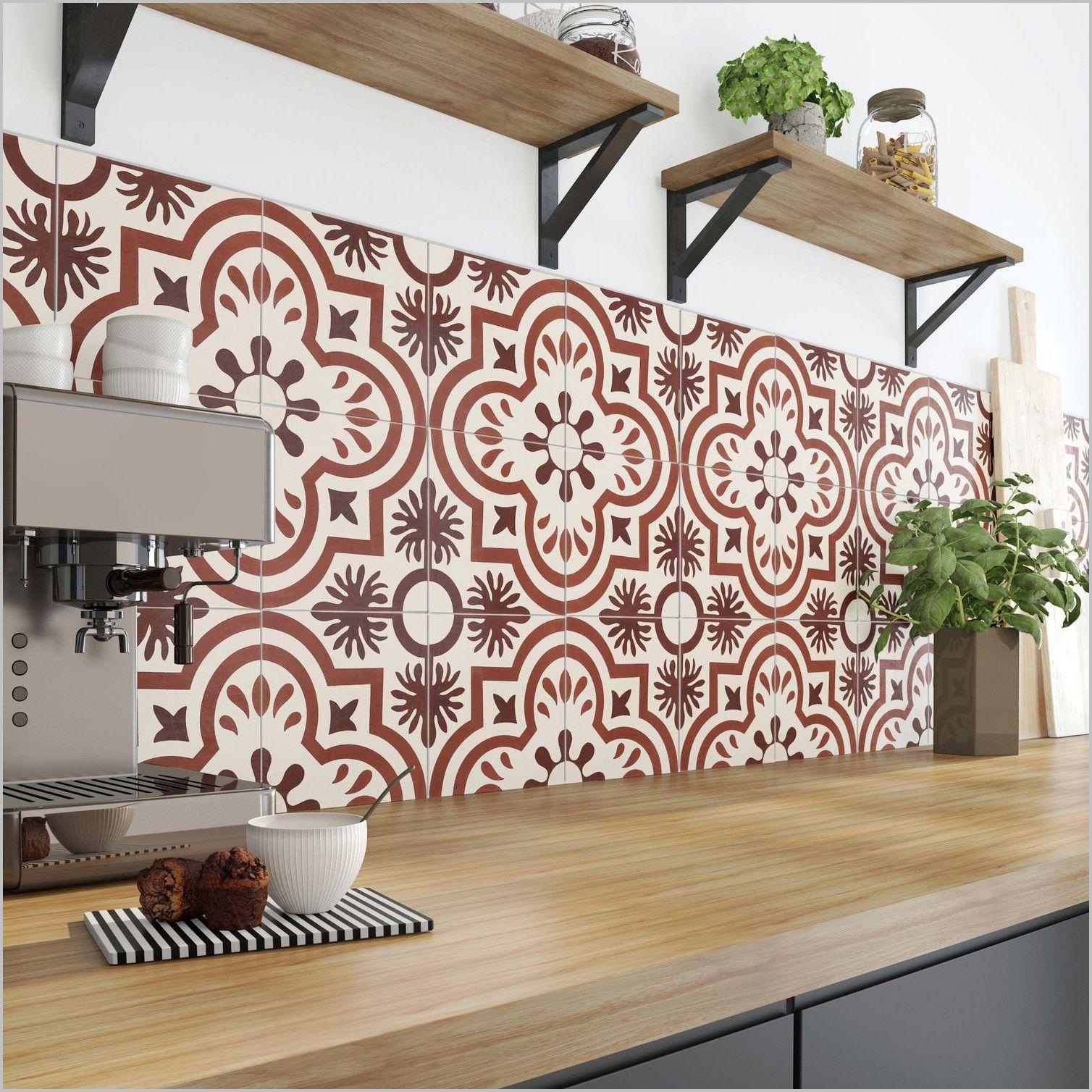 Papier Peint Cuisine Carreaux De Ciment Rouge Kitchen Furniture