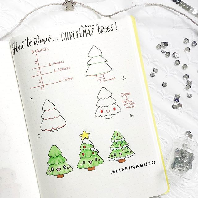 Another Christmas Tutorial Thank You So Much For All The Love You Gave To My Gingerbread Men Bullet Journal Christmas Christmas Tree Drawing Christmas Drawing