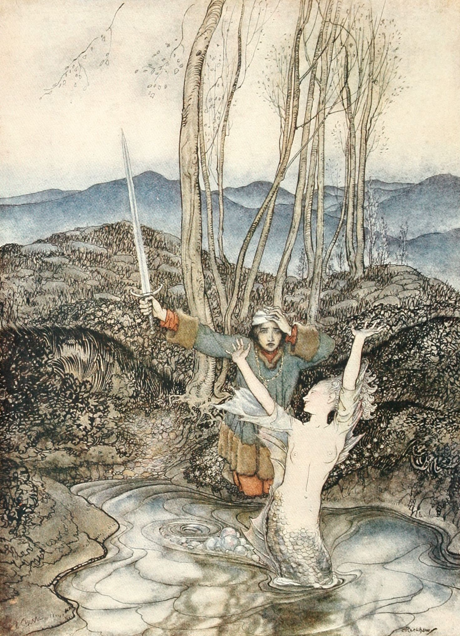 An Image Of Clerk Colvill And The Mermaid By Arthur Rackham In 2020 Arthur Rackham Mermaid Art Art