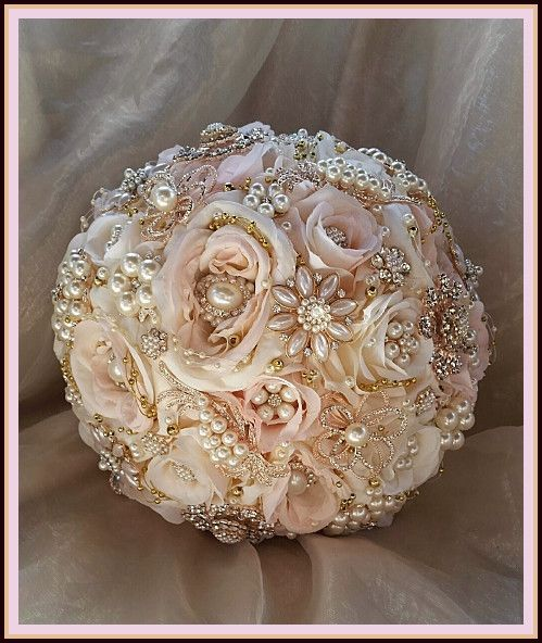 White And Gold Wedding Flowers: Pink Rose Gold Jeweled Bouquet