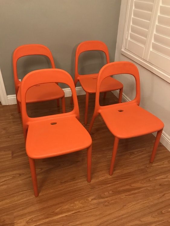 Set Of 4 Ikea Urban Chairs Orange
