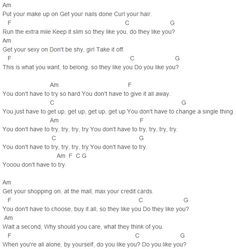 Colbie Caillat - Try Chords Capo 1 | music | Guitar chords, Ukulele