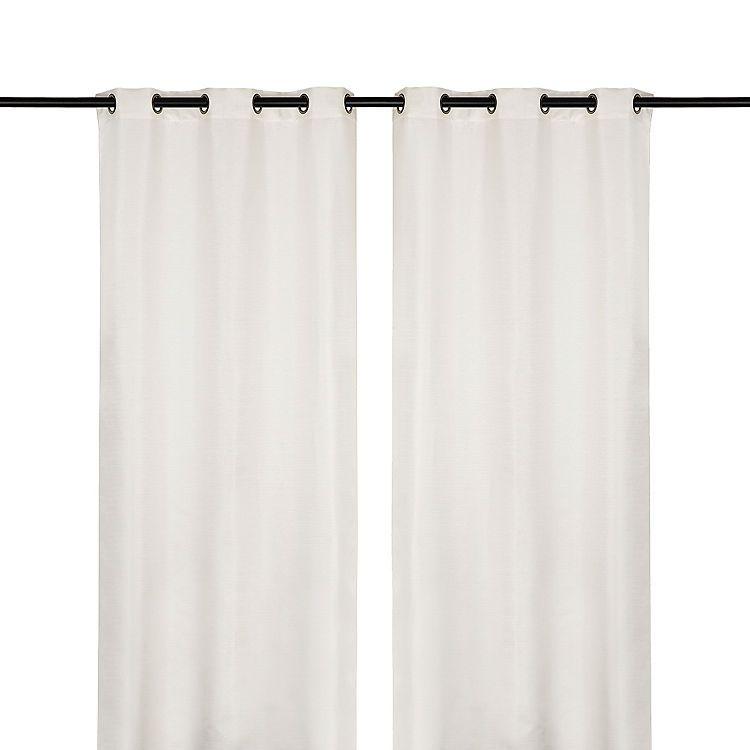 White Raw Silk Curtain Panel Set 108 In Panel Curtains Silk