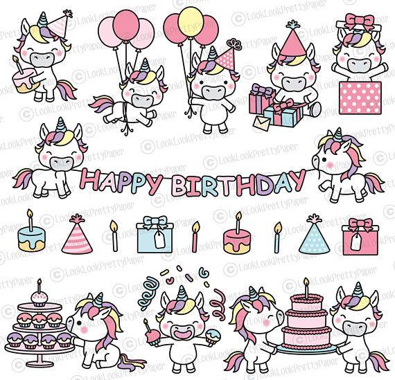 Premium Vector Clipart Kawaii Birthday Unicorns Cute Birthday