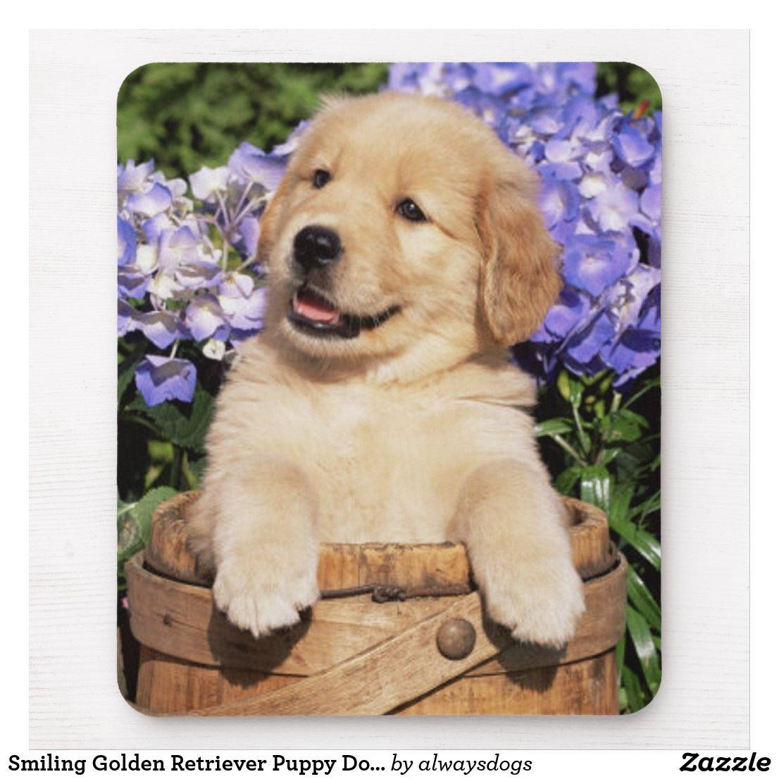 Smiling Golden Retriever Puppy Dog Mouse Pad Zazzle Com Cute