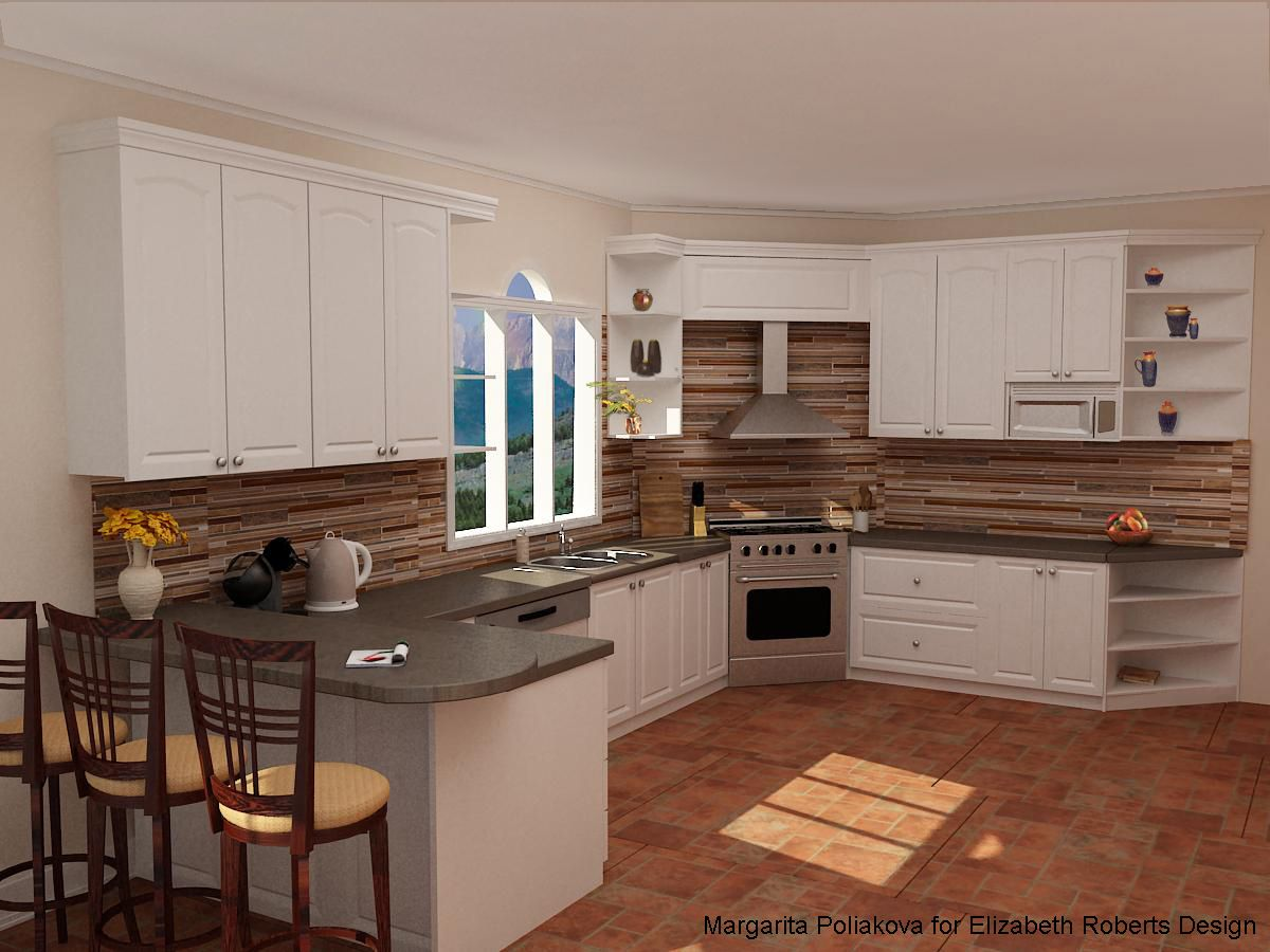slate countertops brick floor in the kitchen - Google Search ...