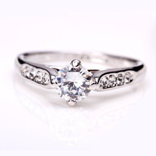 fashion plaza 18k white gold plated use swarovski crystal engagement ring r21 size 6 fashion plaza - Swarovski Wedding Rings