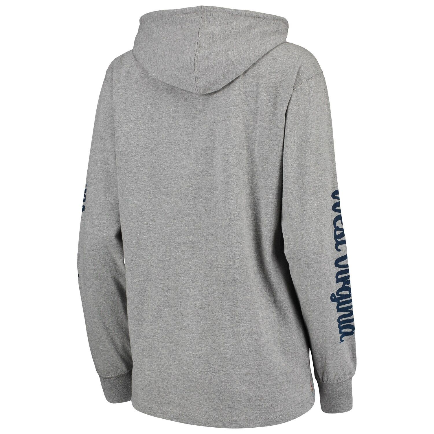 Women's Pressbox Heathered Gray West Virginia Mountaineers Lightweight Pullover Hoodie T-Shirt #westvirginia