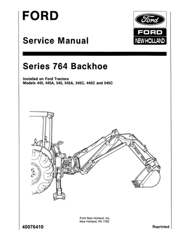 New Holland Ford 764 Serires Backhoe Service Repair Manual