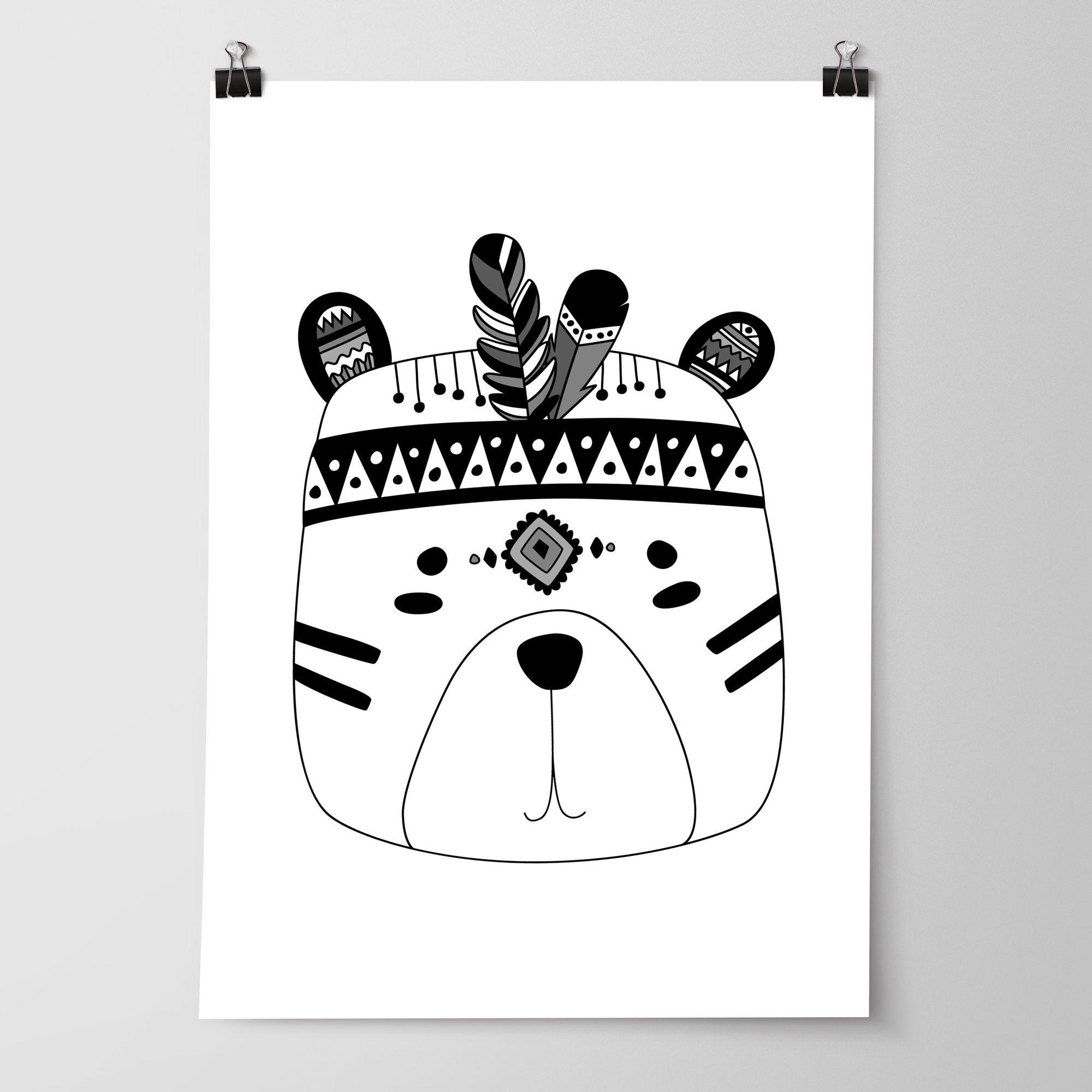 monochrome tribal animal prints set of 3 nursery bedroom wall art print set - Kids Animal Prints