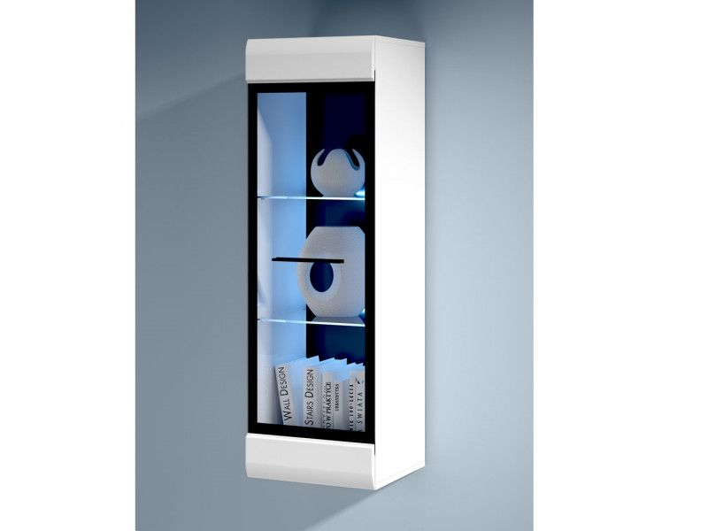 Fever Wall Mounted Gl Fronted Display Cabinet Unit White Gloss With Led Light Sfw1w