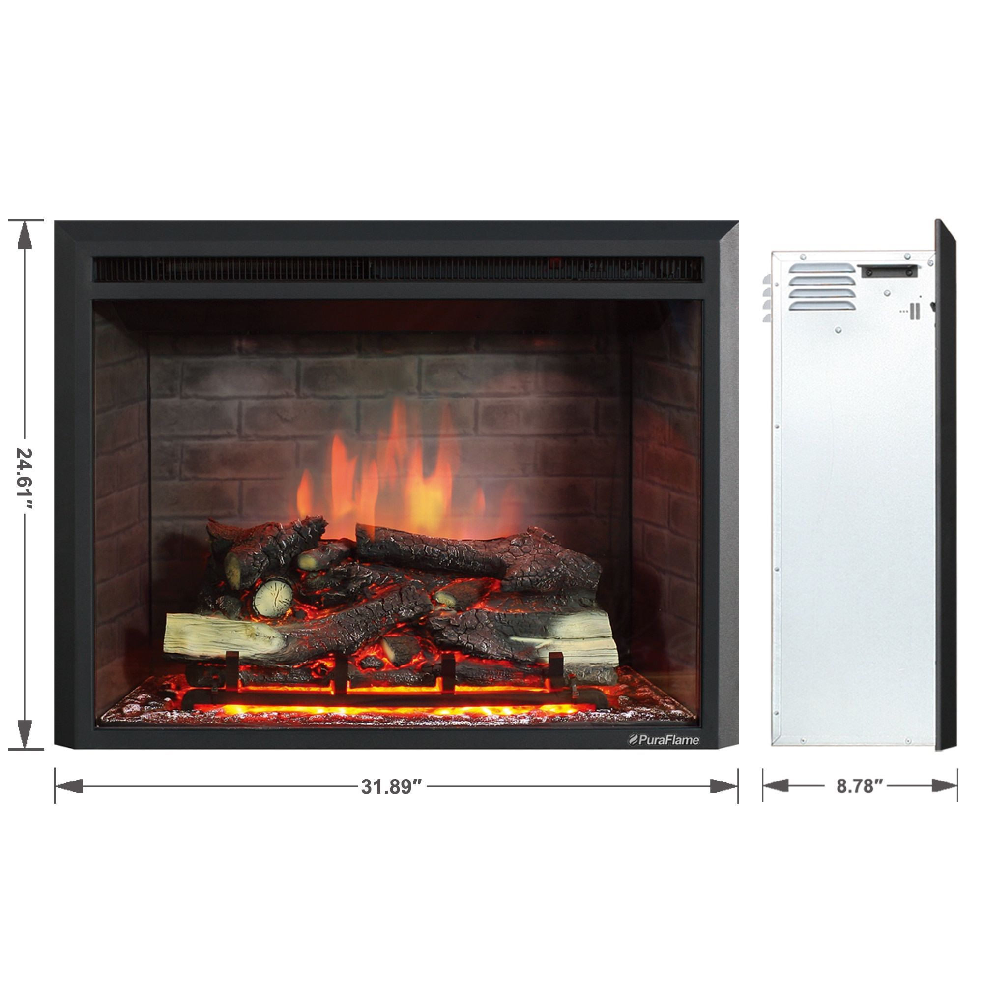 Enjoyable Puraflame Western 750W 1500W Black 30 Inch Electric Home Interior And Landscaping Ologienasavecom