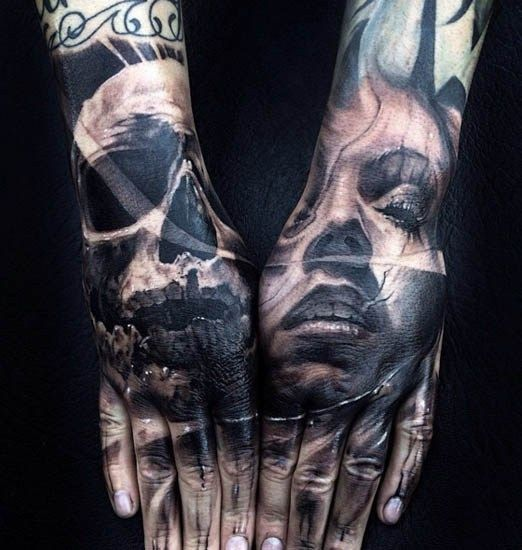 fb439fff9986d Black and grey like this hand piece by Jak Connolly will stand the test of  time. #inked #hand #skull #tattoo #ink #piece #portrait #woman #face  #skulls # ...