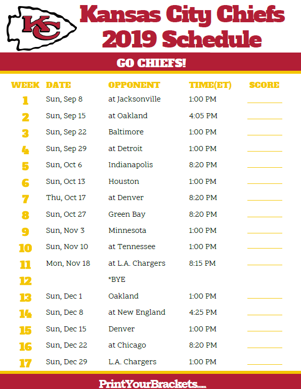 Minnesota Vikings Football Schedule 2019 Printable Kansas City Chiefs Schedule   2019 Season | Printable