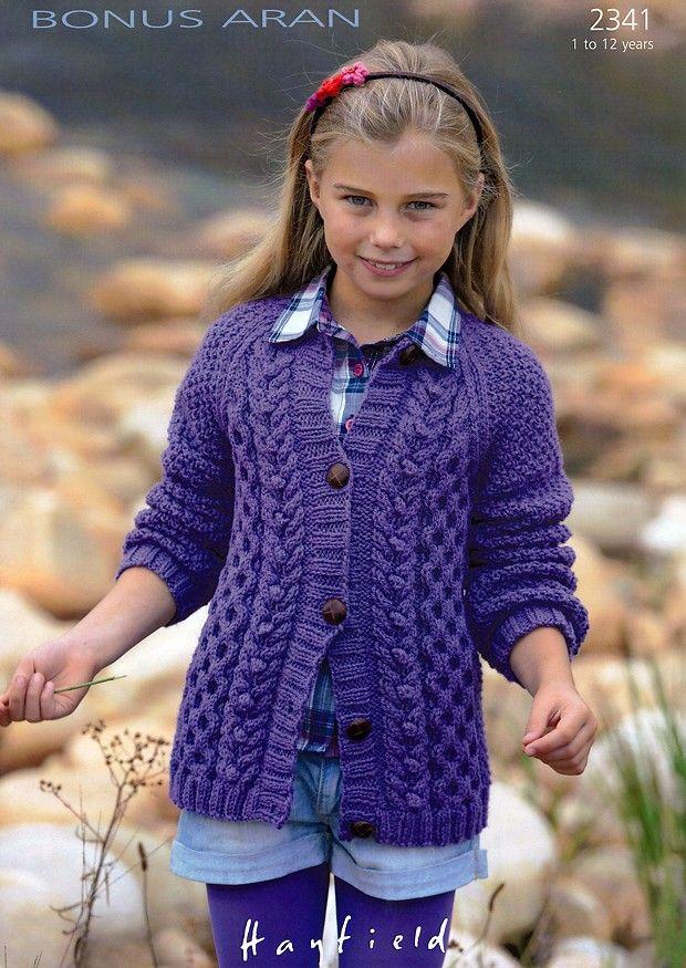 Cardigan in Hayfield Bonus Aran (2341)   Girls Knitting Patterns   Knitting Patterns   Deramores