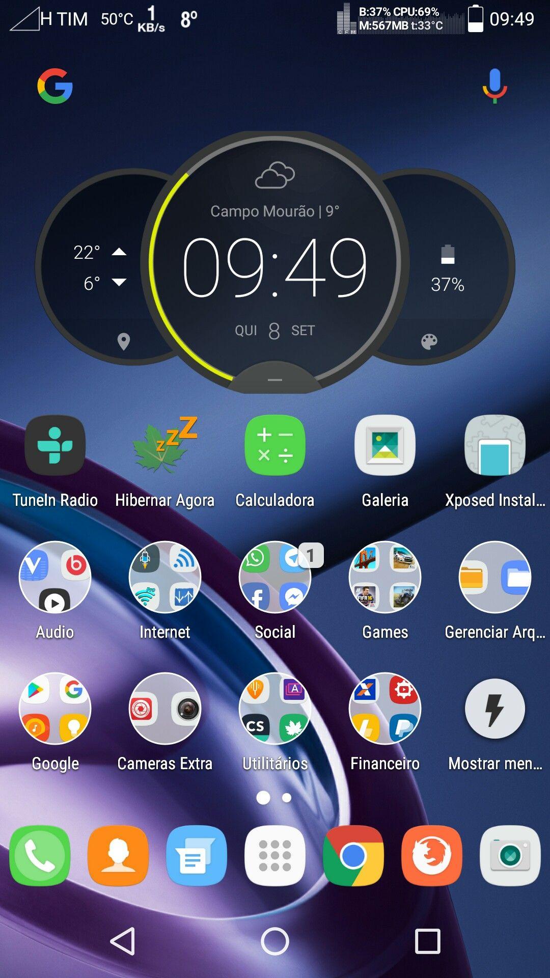Home do meu Moto X2 Organização celular, Aplicativos